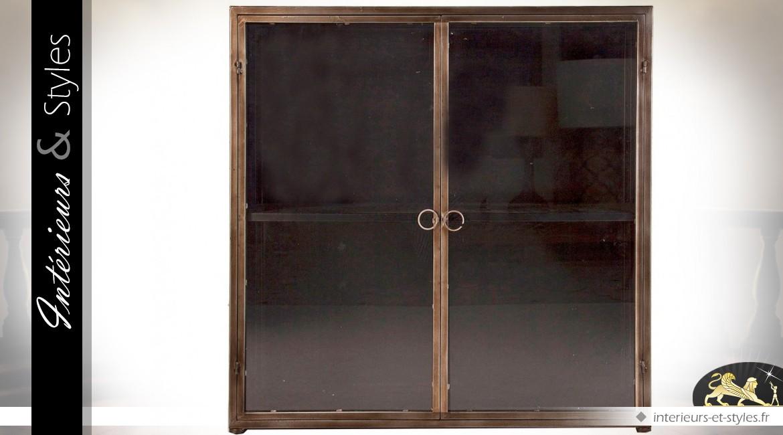 Vitrine style indus en verre et métal patine marron cuivré