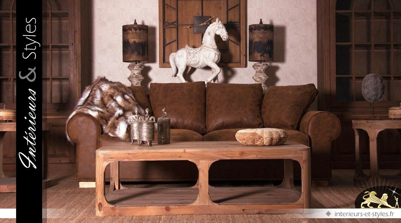 Table basse moderne en bois de pin recyclé