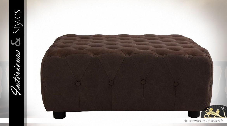 Table basse carrée tapissée tissu capitonné chocolat