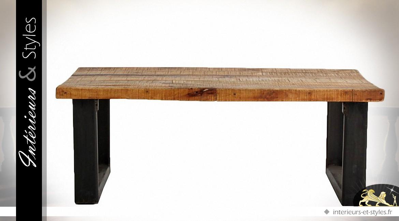 Table Basse En Bois Massif Et Métal Rustique Indus Intérieurs Styles