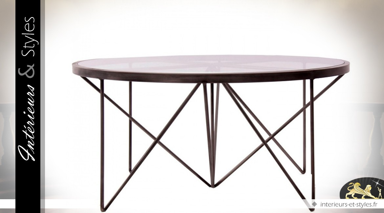 Table Basse Ronde En Verre Et Fer Forgé ø 100 Cm