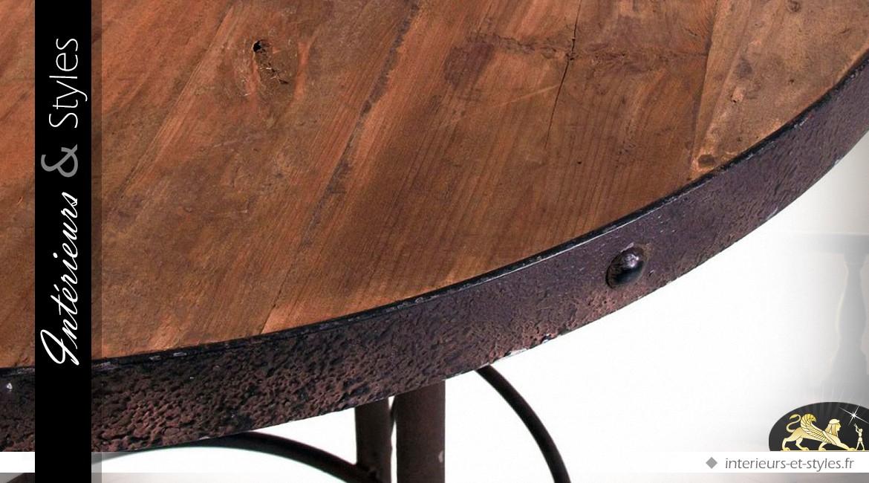 table bar ronde de style industriel en bois et m tal. Black Bedroom Furniture Sets. Home Design Ideas