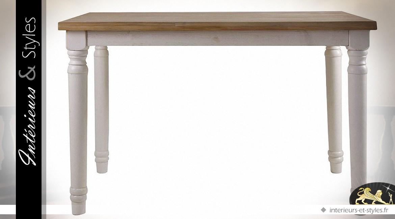 table de cuisine campagne chic blanche et bois naturel | intérieurs