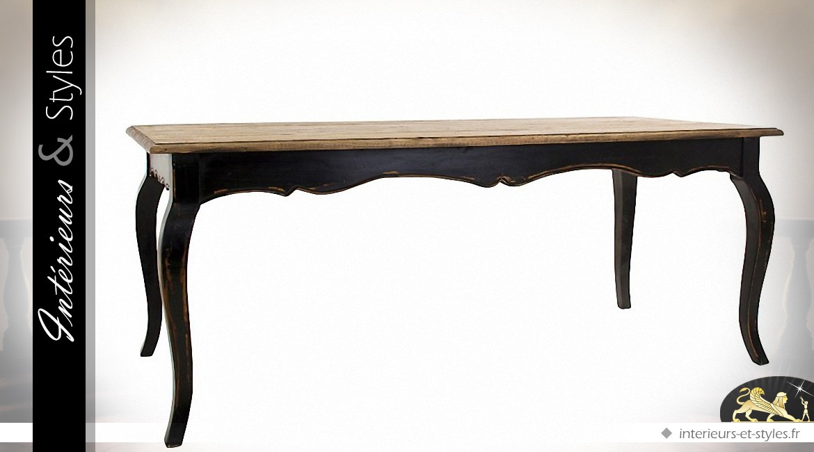 table salle manger style louis xv patine noire et bois naturel int rieurs styles. Black Bedroom Furniture Sets. Home Design Ideas