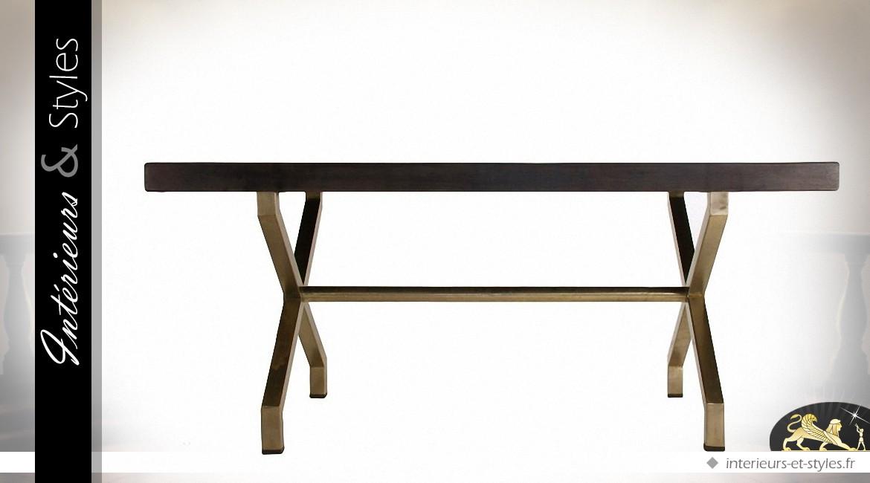 Table design en métal doré avec plateau imitation ardoise ...