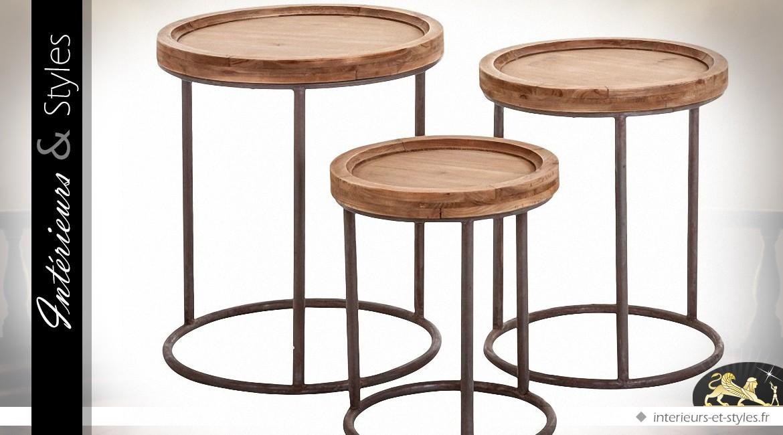 Série De Trois Tables Basses Gigognes Rondes Bois Et Métal