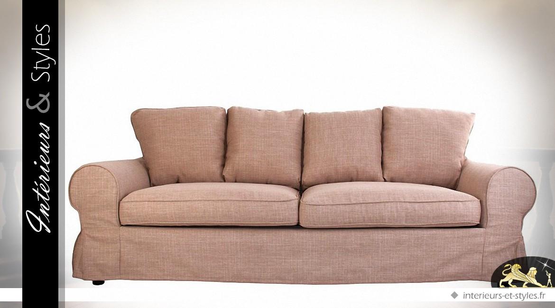 Canapé 3 places en tissu couleur ocre rouge