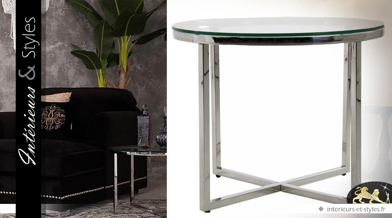 table basse ronde design en m tal argent et verre tremp 55 cm int rieurs styles. Black Bedroom Furniture Sets. Home Design Ideas