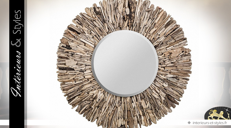 Grand miroir mural rond en bois flotté ˜ 128 cm