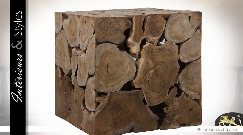 Bout de canapé en teck en forme de cube