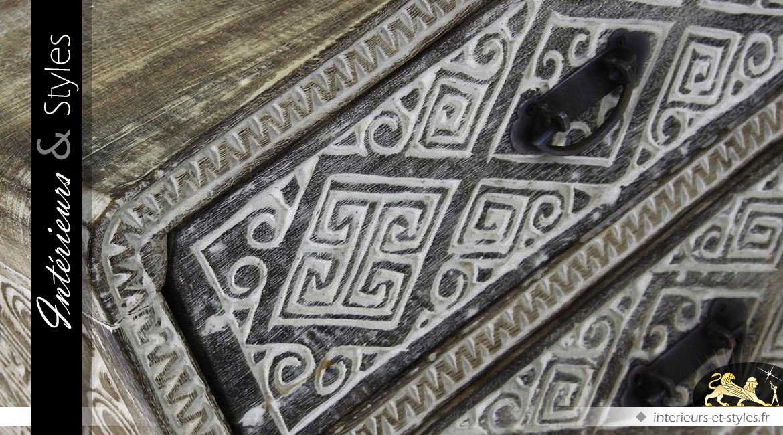 table de chevet acadia sculptures bas relief style. Black Bedroom Furniture Sets. Home Design Ideas