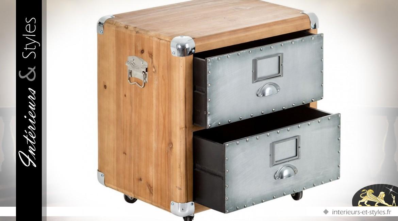 Table de chevet industrielle en bois et m tal int rieurs Table de chevet style industriel
