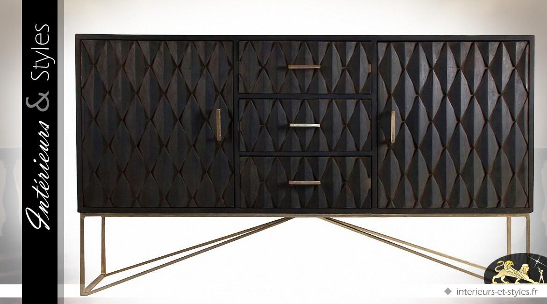 buffet bas deux portes coloris noir et nacre argent e int rieurs styles. Black Bedroom Furniture Sets. Home Design Ideas