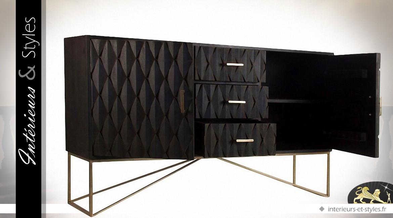 buffet design noir 2 portes et 3 tiroirs effet 3d int rieurs styles. Black Bedroom Furniture Sets. Home Design Ideas