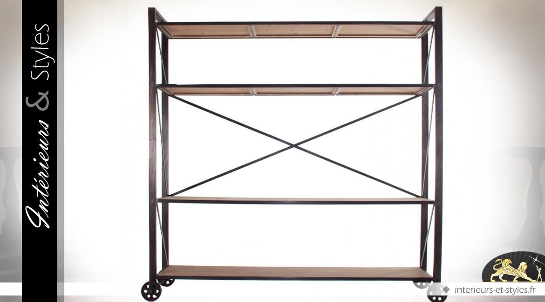 echelle biblioth que industrielle en bois et m tal int rieurs styles. Black Bedroom Furniture Sets. Home Design Ideas