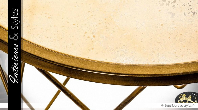 Bout de canapé rond design en métal doré et verre Ø 60 cm