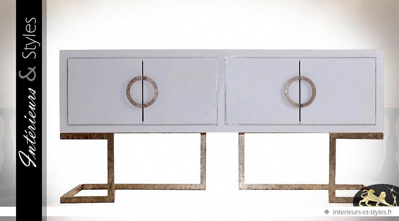 Buffet Blanc Et Bronze Doré Vieilli Style Design 4 Portes
