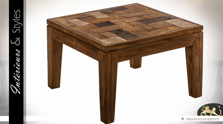 table basse carr e en teck avec plateau marqueterie int rieurs styles. Black Bedroom Furniture Sets. Home Design Ideas