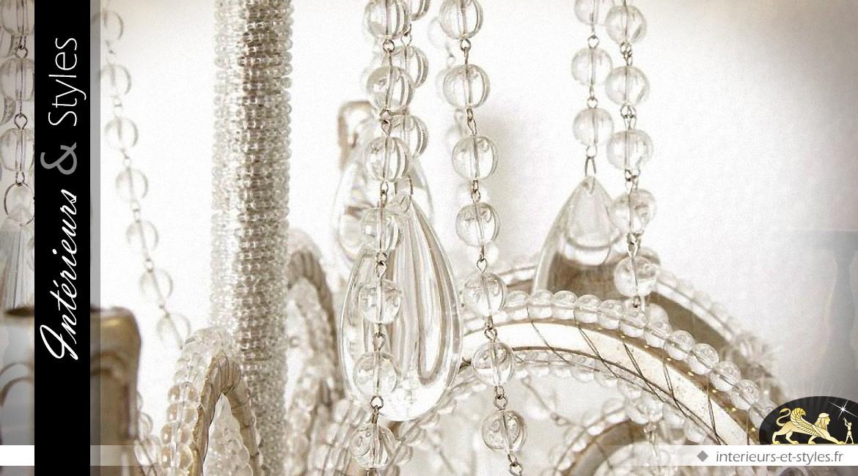 Lustre à pampilles en verre et métal 6 points lumineux