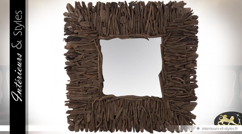 Miroir carré 100 x 100 en mindi teinte marron foncé