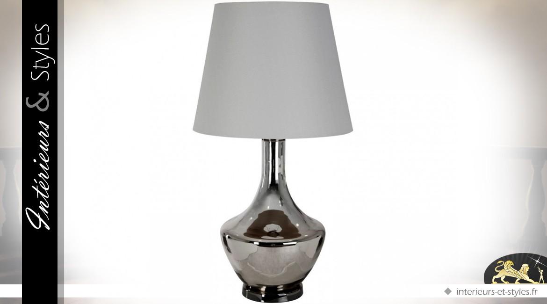 Petite lampe métal chromé et abat jour motif argent
