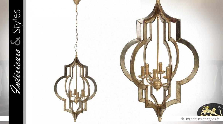 Lustre métal et verre organique vieux bronze 6 points Ø 60 cm
