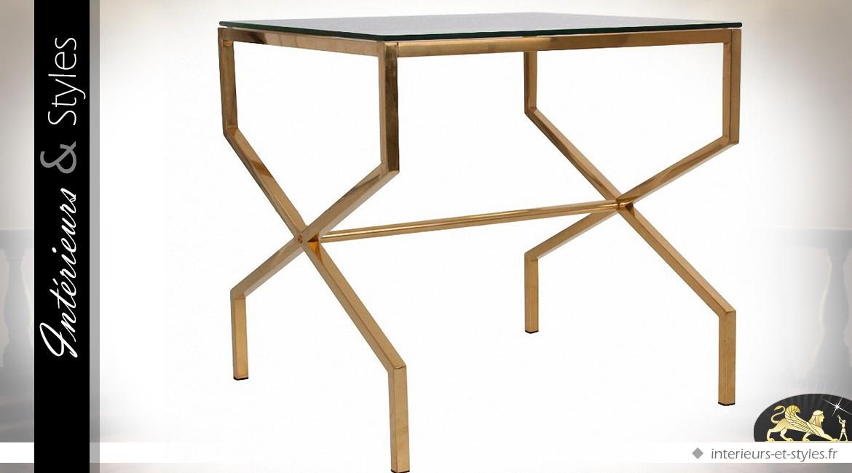 bout de canap design carr finition dor e et plateau verre tremp int rieurs styles. Black Bedroom Furniture Sets. Home Design Ideas