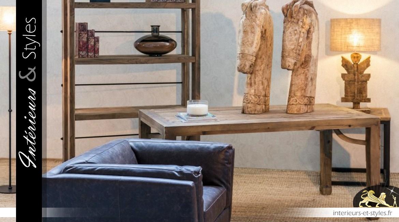 Bout de canapé industriel métal noir mat et pin recyclé