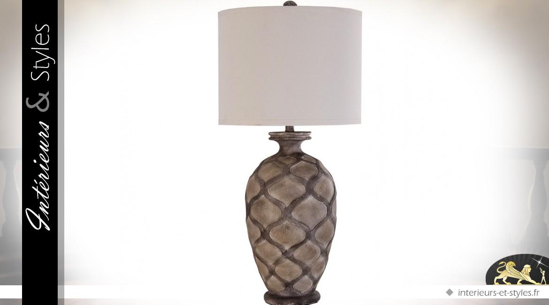 Lampe de salon argent chrom et abat jour blanc en lin 86 - Lampe a poser grande taille ...
