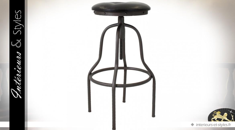 tabouret de bar industriel vintage r glable en hauteur int rieurs styles. Black Bedroom Furniture Sets. Home Design Ideas