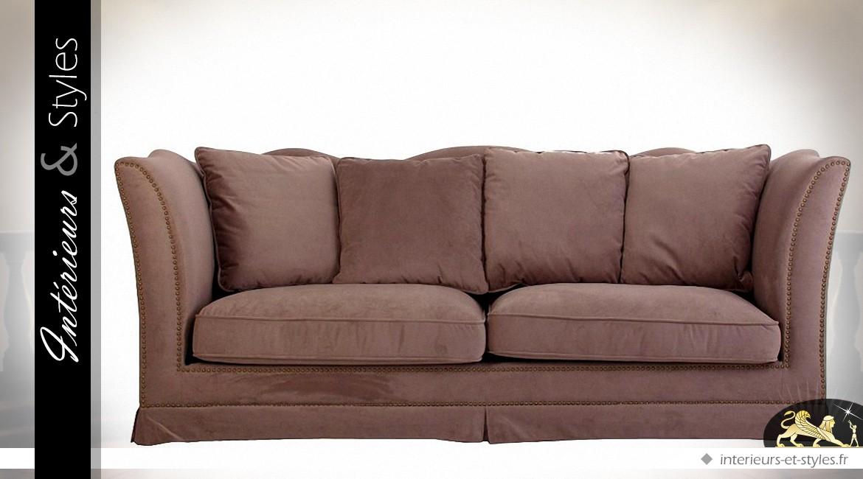 Canapé 3 places tissu couleur chataigne avec coussins