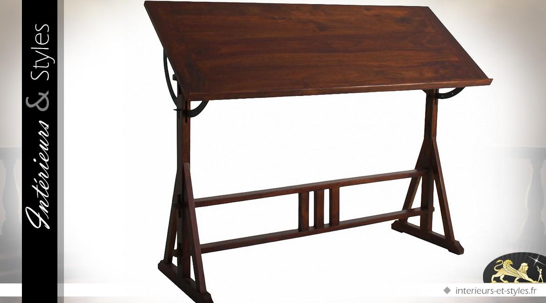 Table d'architecte orientable manguier patine brun foncé