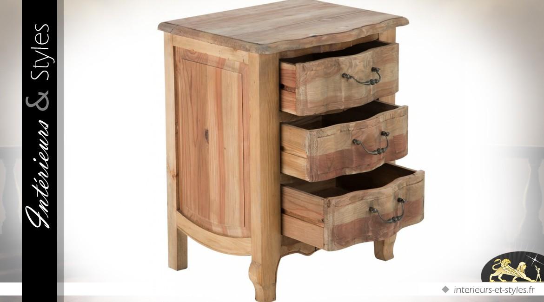 table de chevet haute rustique pin recycl 3 tiroirs int rieurs styles. Black Bedroom Furniture Sets. Home Design Ideas