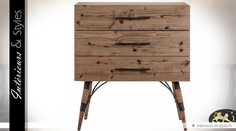 commode industrielle vintage en bois et m tal int rieurs styles. Black Bedroom Furniture Sets. Home Design Ideas