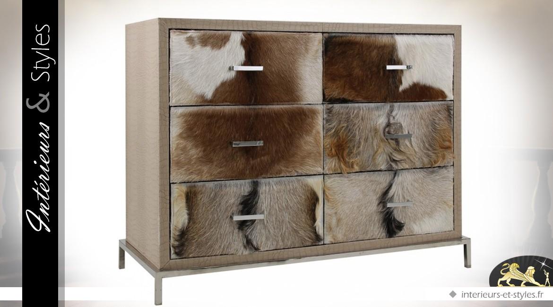 commode originale 6 tiroirs habill s en fourrure de ch vre. Black Bedroom Furniture Sets. Home Design Ideas