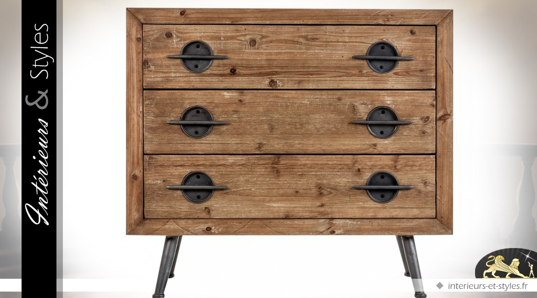 commode industrielle vintage bois et m tal 3 tiroirs int rieurs styles. Black Bedroom Furniture Sets. Home Design Ideas