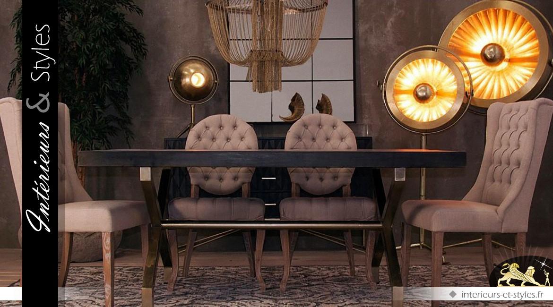 Lampadaire vintage industriel en laiton doré vieilli 2 mètres
