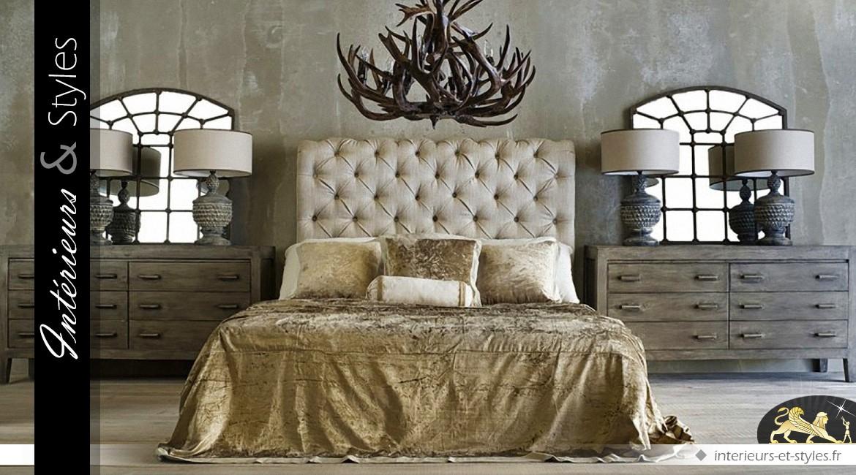 t te de lit en tissu capitonn coloris lin cru en 167 cm. Black Bedroom Furniture Sets. Home Design Ideas