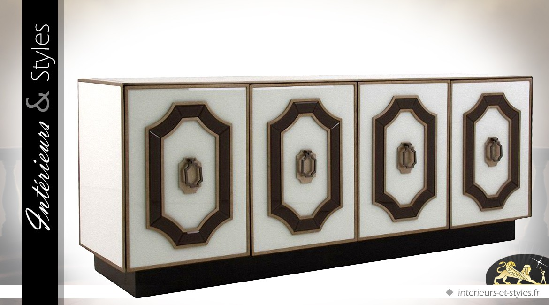 Enfilade Art Déco noir bronze et blanc en bois verre et métal