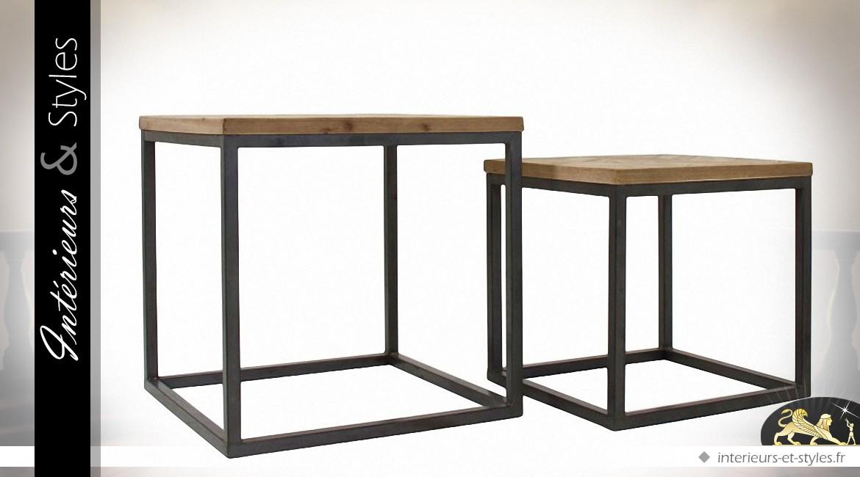 Duo de tables basses carrées design bois et métal   Intérieurs   Styles 96139b85ff56