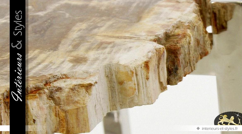 Bout de canapé design pierre et métal argenté