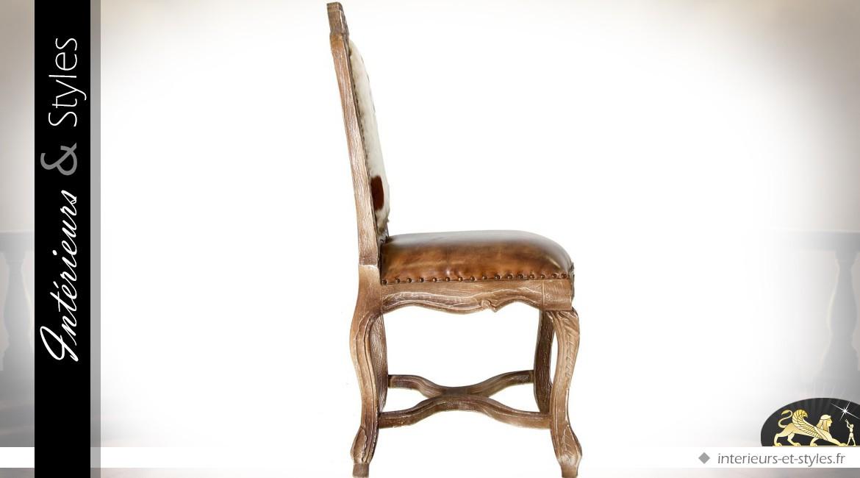 chaise de style baroque avec assise cuir et dossier en fourrure int rieurs styles. Black Bedroom Furniture Sets. Home Design Ideas
