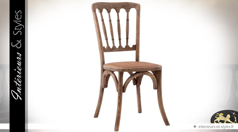 Chaise bistrot avec dossier à barreaux et assise cannée