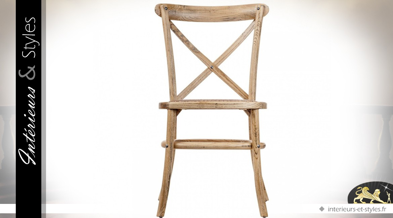 Chaise bistrot de style rétro aspect bois vieilli