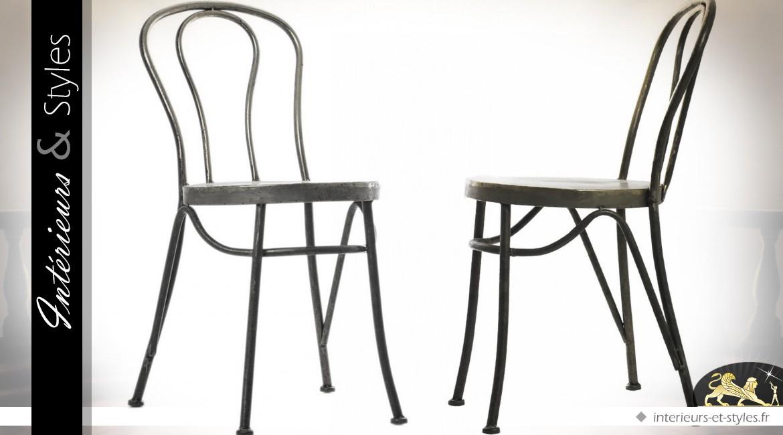 Chaise rétro en métal anthracite antique
