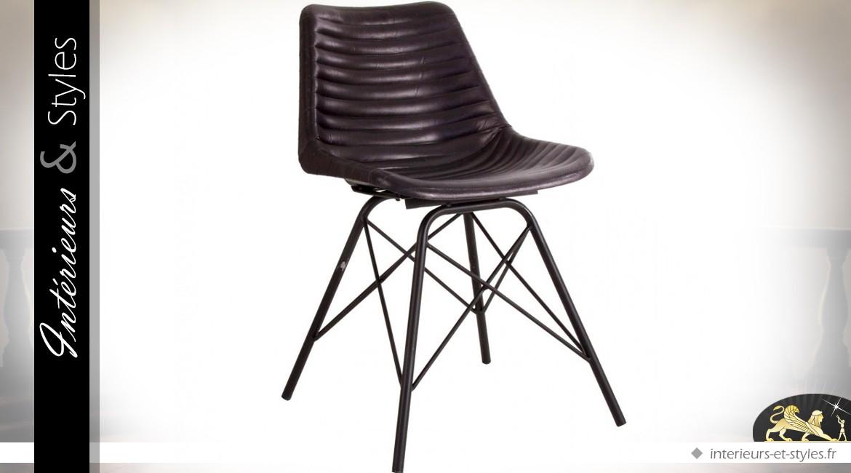 design métal noir marron et Chaise foncé vintage cuir UGLSzMVpq