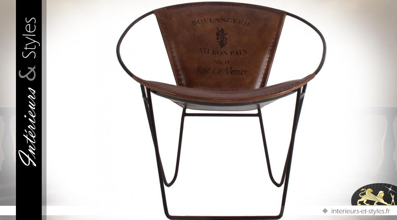 Noir Vintage Cuir Et Design Métal Fauteuil MarronIntérieurs rsBtdhQCxo
