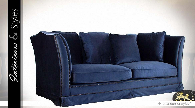 canap relax et r tro 3 places tissu bleu nuit int rieurs styles. Black Bedroom Furniture Sets. Home Design Ideas