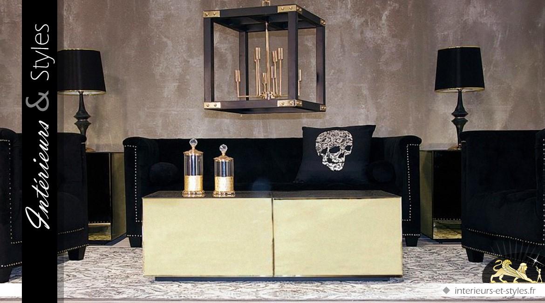 Table basse design en miroirs dorés et biseautés