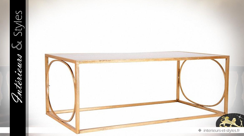 Table basse design en métal doré et plateau miroir